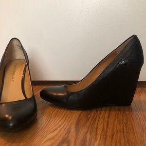 Audrey Brooke Leather Black Closed Toe Wedges